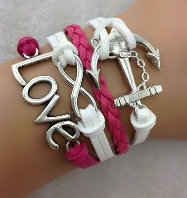 NEW Hot Retro Infinity LOVE Anchor Leather Charm Bracelet plated Silver !!!