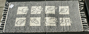 Teppich-Badteppich-gewebt-034-Blaetter-034-natur-grau-135-x-65-cm-Teppich-waschbar