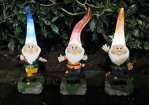Image Is Loading Solar Powered Outdoor Garden High Hat Gnome Lights
