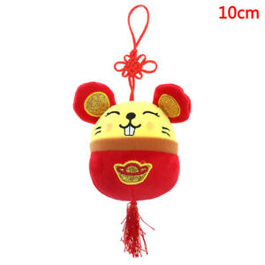 2020 Year Of The Rat Mascot Plush Toy Red Chinese Knot Mouse Pendant NWUS