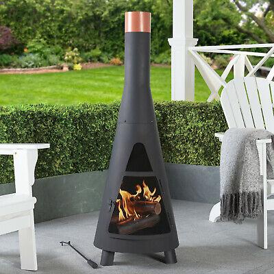 Outdoor Steel Chiminea Fire Pit Heater Wood Burning Patio Backyard