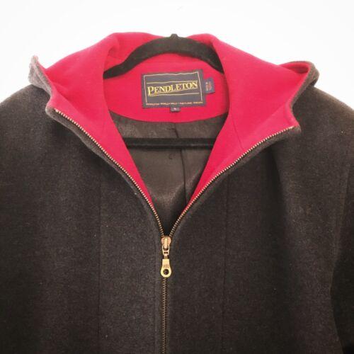 Pendleton Wool Coat Gray with Red Lining Hood Wool