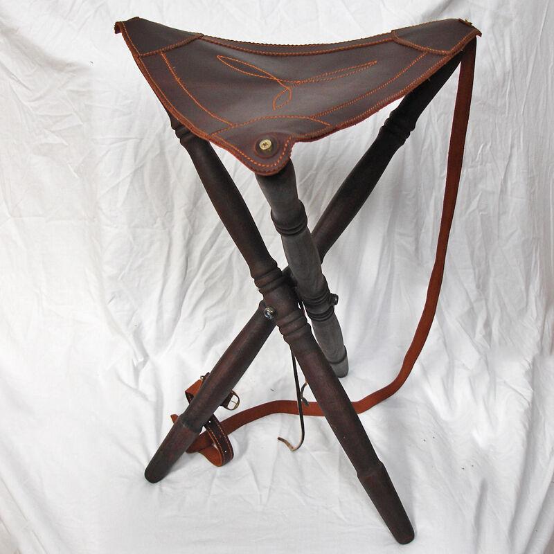 Traditionelles Holz & Leder Folding Stool.Made in Spain