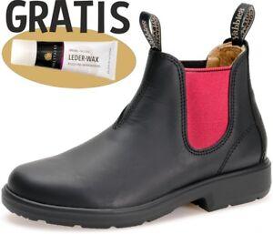 best sneakers 34b16 e63e8 Details zu Yabbies Boots für Kinder Leder Stiefelette - Black mit Gummizug  PINK + Lederwax