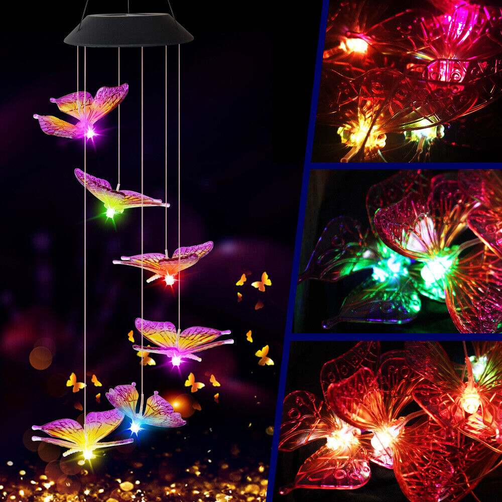 Hanging Wind Chimes Solar Powered LED Light Colour Changing Garden Outdoor GOO