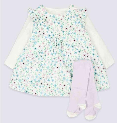 Nouveau Bébé Fille Ex m/&s Robe à Fleurs Collants Tenue marks and spencer newborn 12 M