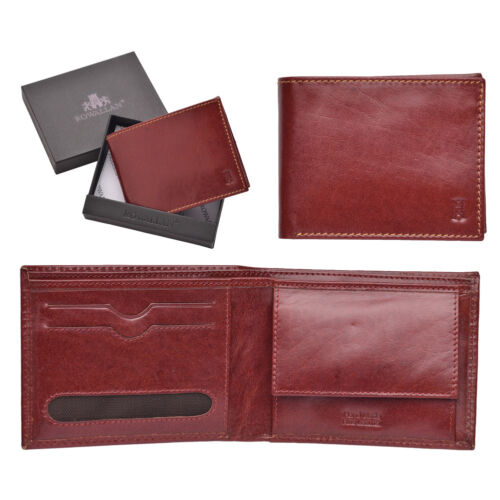Mens Gents Smooth Luxury Buff Leather Bifold Wallet Purse Large Coin Holder Tan