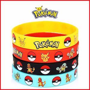 Image Is Loading 4pcs Pokemon Go Pikach Rubber Bracelets Wristband Birthday