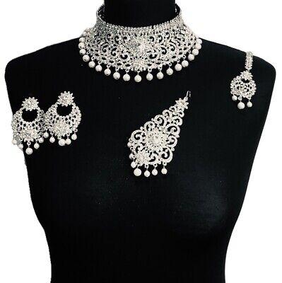 Pearl Asian Choker Set Pakistani Bridal Wedding Indian Bollywood Jewellery Set