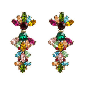 1-Paire-elegant-femme-cristal-Strass-Ear-Drop-Dangle-Stud-Long-Boucles-D-039-oreilles