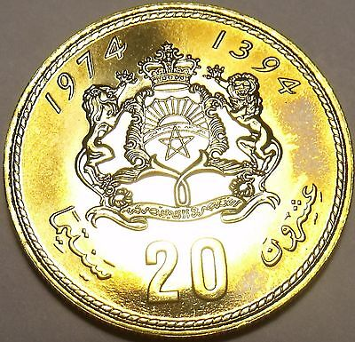 Raro Prova Marocco 1974 20 Santimat ~ 20,000 Coniate ~ Solo Anno Ever Other Ancient Coins