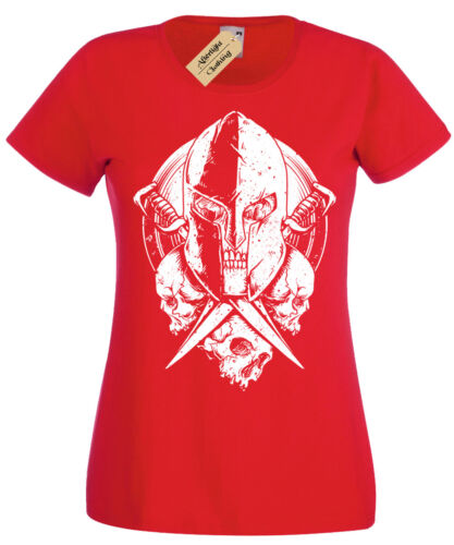 Spartan Warrior Skull Womens T-shirt mma gym fitness training workout ladies top