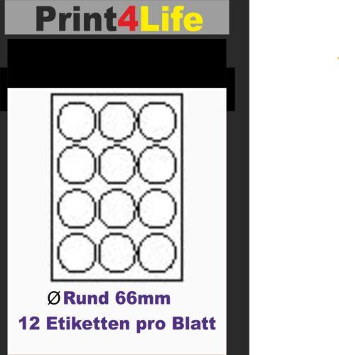 1200 DRUCKER ETIKETTEN 60,0 rund Drucker Label Aufkleber weiß selbstklebend