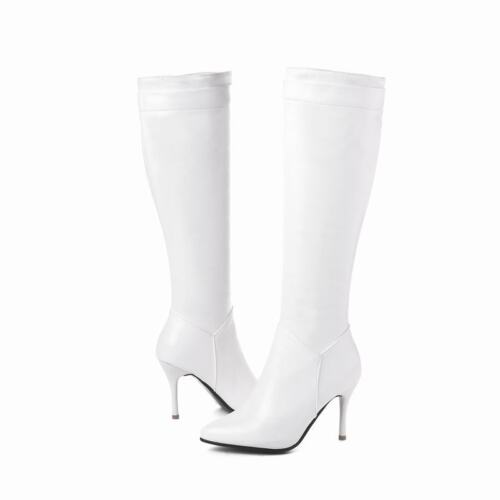 Women Winter Faux Leather Knee High Boots Pointy Toe Stiletto Heels Riding Shoes