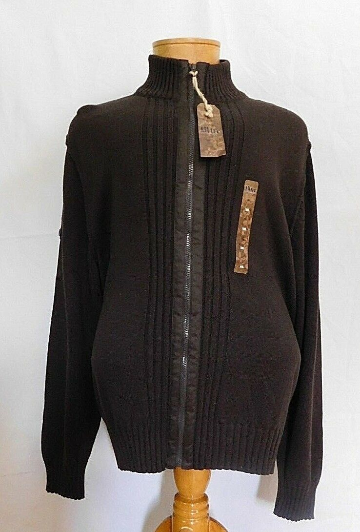 bluee Pronto men Brown Full Zip Up Front Sweater Men's XXL 2XL 100%  Cotton NWT