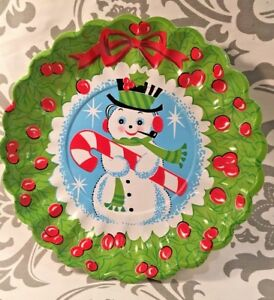 Vintage Christmas Cookie Serving Tray Plate Bowl Frosty The Snowman Wreath Ebay