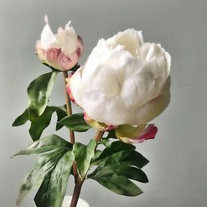 Large White Peonies With Bud Realistic Artificial Luxury Faux Silk