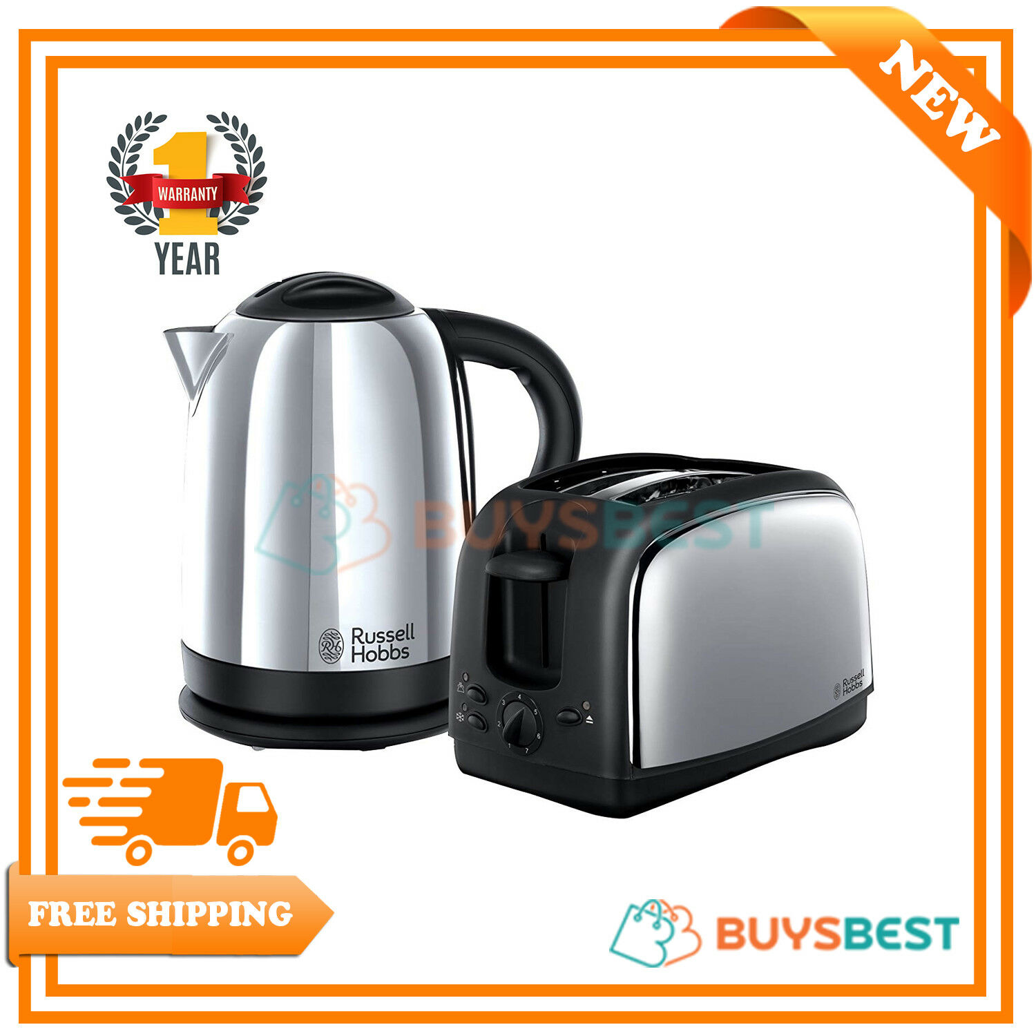 Russell Hobbs Lincoln Polished Stainless Steel Kettle & 2-Slice Toaster Set