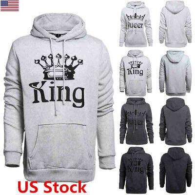 US Couple Women Men Hoodie Jumper Sweater Tops King and Queen Sweatshirt Outwear