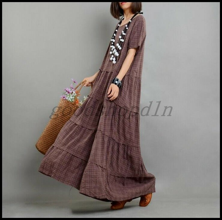 Vintage Womens Cotton Linen Plaid Dress Short Sleeve Casual Loose Long Robe Maxi