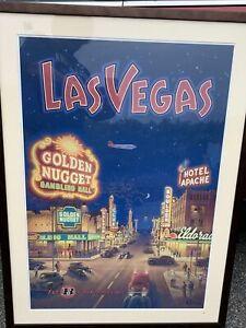 Las-Vegas-Bonanza-Airlines-Lithograph-Matted-Framed-Kerne-Erickson-Vintage