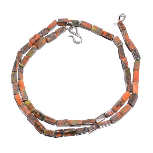 """Natural Unakite Gemstone Square Tube Smooth Beads Necklace 17/"""" BN-4"""