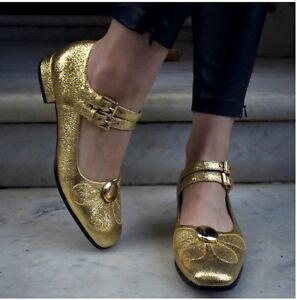 Unido Orla 38 de Angelina retro euros tamaño Kiely con vintage del Reino zapatos brillo 5 dorado U7PRUrq