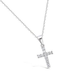 Pendentif Croix 20 mm Diamant Cz 925 1.2Gr Argent Massif De Dolly-Bijoux