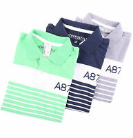Aeropostale Men Stripe Jersey Logo A87 Polo Shirt style 7979 $0Ship