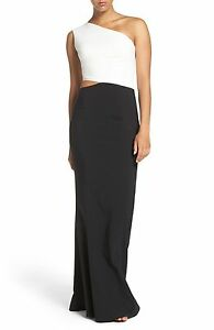 6147cae4679 NEW MARIA BIANCA NERO Colorblock One Shoulder Woven GOWN Sz 2 $388 ...