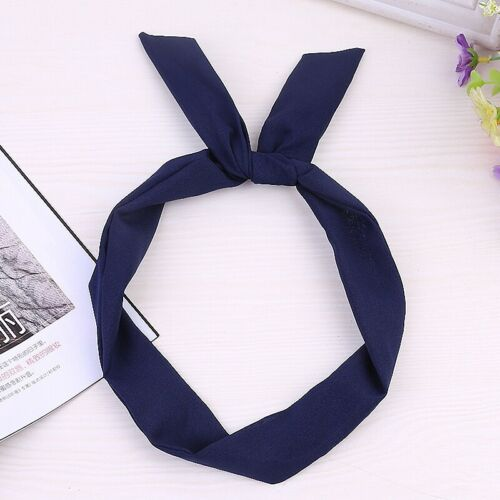 Women Solid Color Hair Band Headband Cute Rabbit Ear Twist Bow Knot Accessories