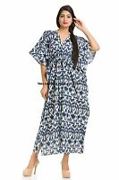 Kaftan Ikat Printed Cotton Beach Wear Boho Indian Bikini Wear Caftan Maxi Gown