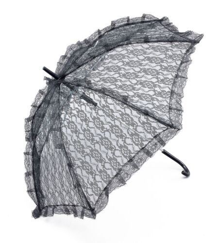 Black Lace Parasol Ladies Victorian Steampunk Gothic Umbrella Costume Accessory
