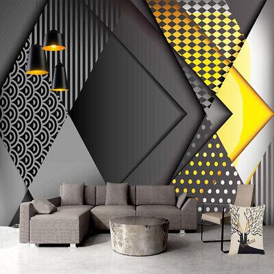 3d Black Grey Yellow Geometric Wall Mural Wallpaper Living Room Bedroom Kitchen Ebay