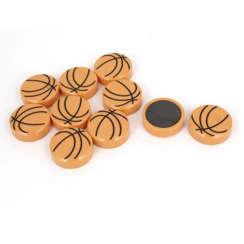 10 Pcs Yellow Basketball Pattern Round Base Whiteboard Magnetic Sticker