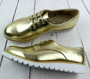 WOMENS LADIES GOLD SMART OXFORD BROGUE GIRLS FLAT LACE UP PUMPS SHOES SIZE 3-8