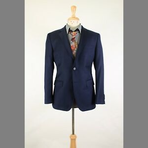 db4bbcf4 HUGO BOSS 38S Navy Solid Wool 2B Mens Sport Coat Blazer Suit Jacket ...