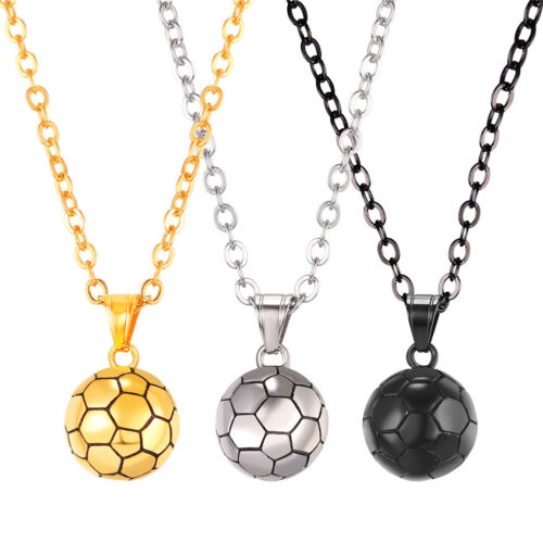 U7 Soccer Ball 3D Football Charm Pendant Necklace Stainless Steel Sport Jewelry