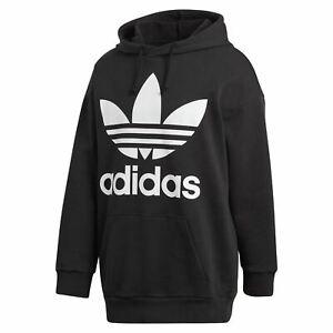Details about adidas ORIGINALS OVERSIZED TREFOIL HOODIE BLACK RETRO SPORTS BOYFRIEND FIT NEW
