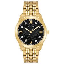 Bulova Men's 97D113 Diamond Markers Gold-Tone Black Dial Bracelet 44mm Watch