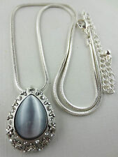 Silvertone Silver Moonglow Glass Cabochon Rhinestone Domed Pendant Necklace