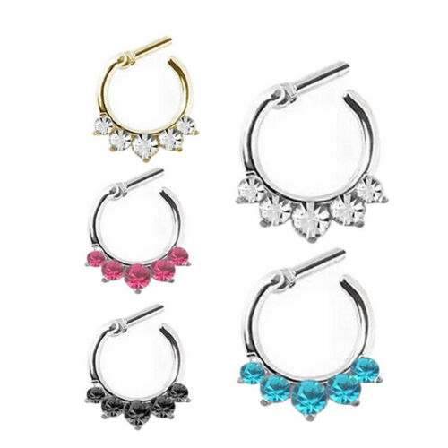 Women Crystal Septum Clicker Hanger Nose Ring Non Piercing Body Jewelry InBICA