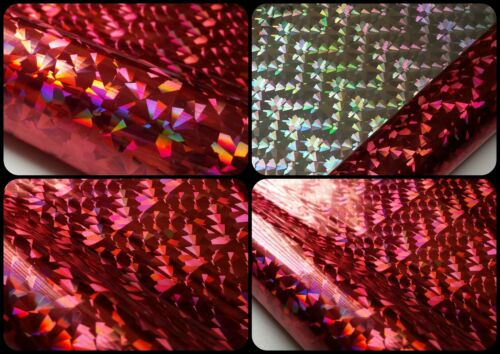 8 x 5m x 49cm ROLLS of TOP QUALITY RED SILVER Foil Holographic Gift Wrap Crafts