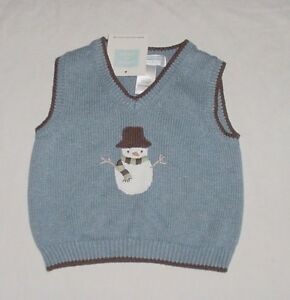4a916ace8793 NWT Janie   Jack Boys BABY SNOWMAN Blue   Brown Holiday Sweater Vest ...