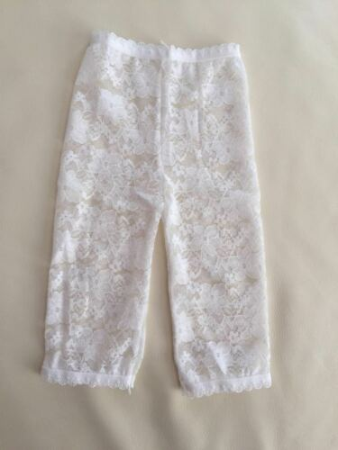 NEW Baby Girl Cotton Lace Legging Crop Pants Ivory white 0-9 mos or 9-18 mos