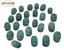 12 Scarabs beetle handmade Pendants bead Egyptian Ceramic carved  XS 205