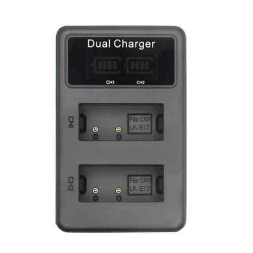 Lcd Cargador De Batería Doble Usb para Lp-E17 Lpe17 Lp E17 Batería De Cámar E7Q4