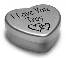 I Love You Troy Mini Heart Tin Gift For I Heart Troy With Chocolates or Mints