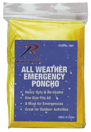 Wet Weather Rain Poncho Waterproof Polyethylene 50x80 Lightweight Rothco 3681