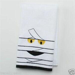 Halloween Embroidered Mummy Bath Hand Towel 16x25 Cotton Velour NWT